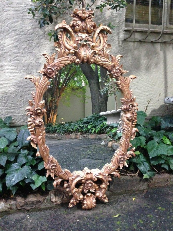 Rococo style carved giltwood mirror 120cm high