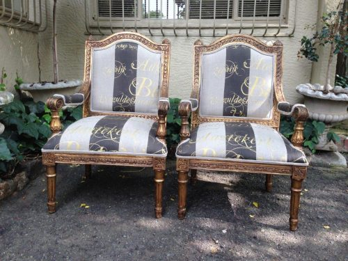 Pair of hand-gilded continental armchairs. Circa early 20th Century *Brand new Upholstery - Hand-painted Fabric*