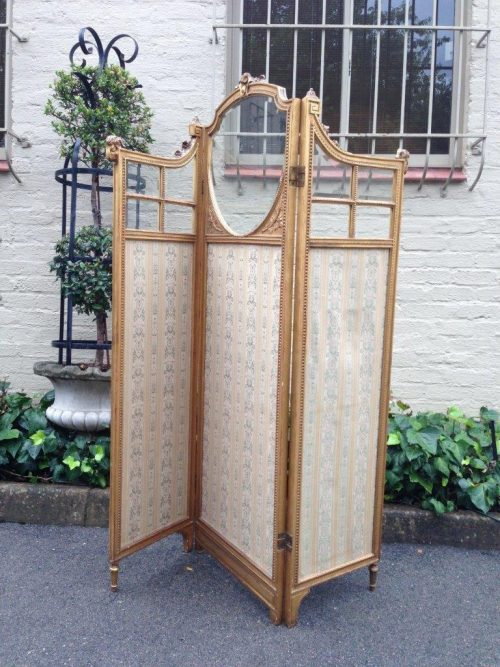 French Gilt and Jacquard-lined Three Panel Screen