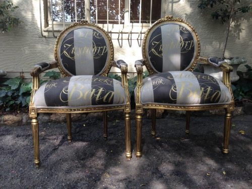 Pair of Gilded Armchairs (Handpainted script linen)