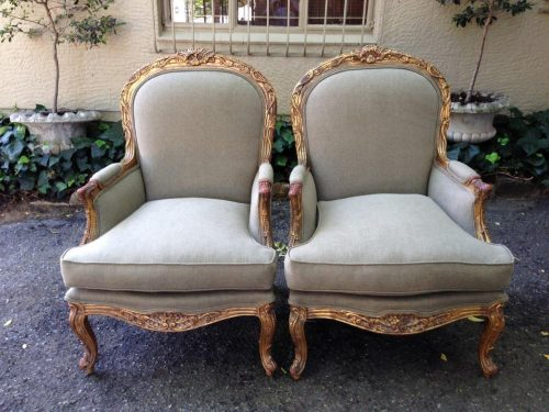 Pair 19th Century Style Giltwood Painted and Carved Bergeres (Armchairs)