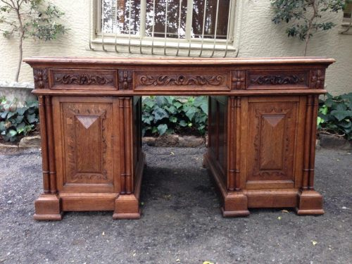 French Renaissance Oak Partners Desk. Circa 1880