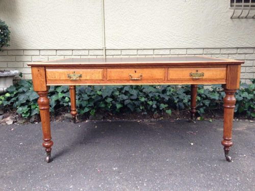 Victorian Oak Partner's Desk with leather top