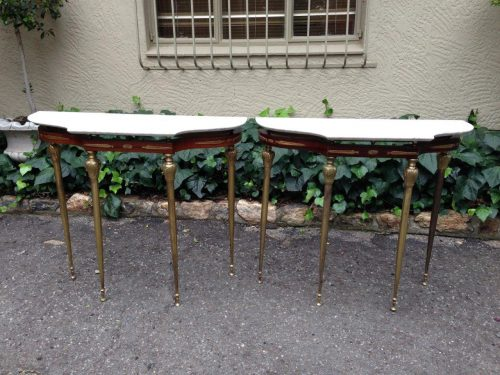 Pair of Gilt Metal-Mounted Console Tables with Marble Tops