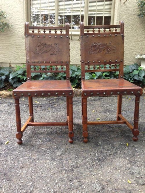 A Pair of 19TH Century Spanish embossed leather chairs