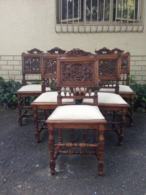 Set of 6 French antique carved chairs
