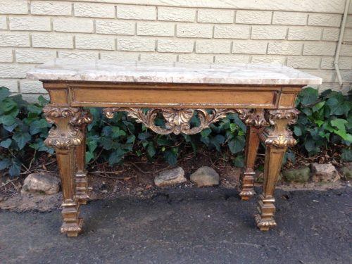 Antique/vintage ornately carved and  gilded table with marble top