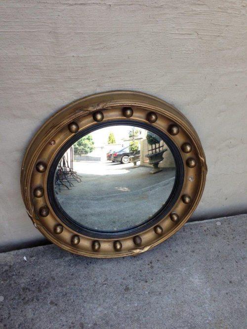 Antique/vintage gilded convex mirror