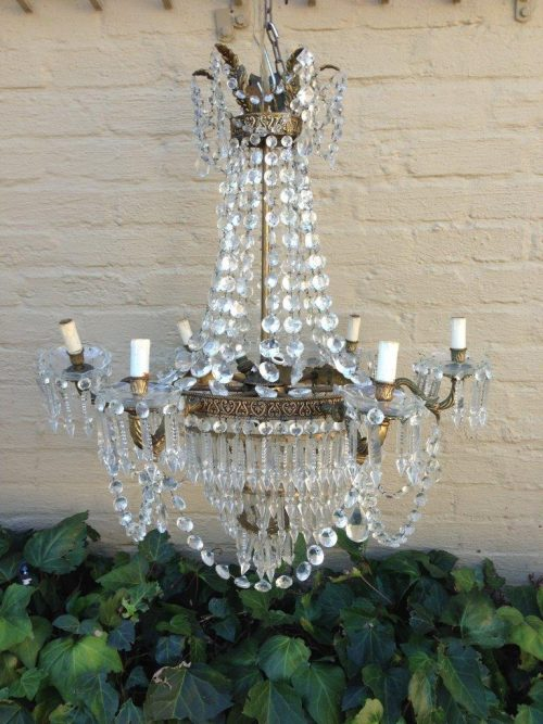 Antique/vintage crystal chandelier in the neo deco period style