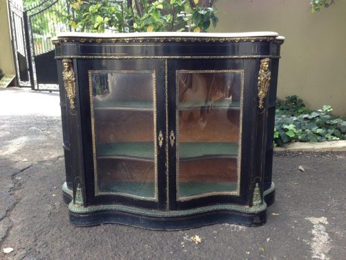 A Late 19th Century Continental Black Lacquered Credenza