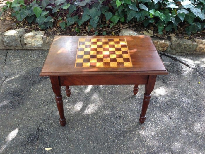 Chess table with chess pieces