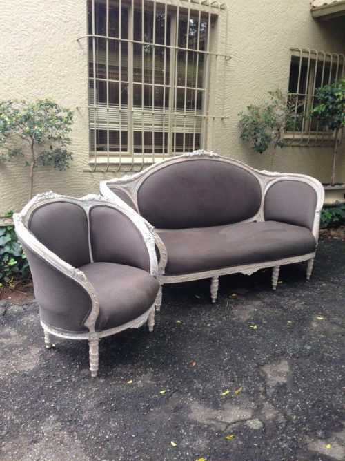 A set of carved and gilded French style bergere chair and settee *Brand New Upholstery*