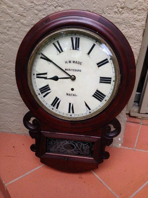 A 19thC mahogany cased Station / Office Wall Clock