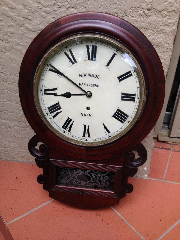 A 19thc Mahogany Cased Station Office Wall Clock With