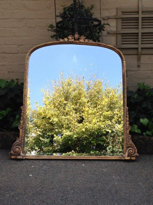 A French Bevelled Brass Arched Mirror with ornate floral carved details