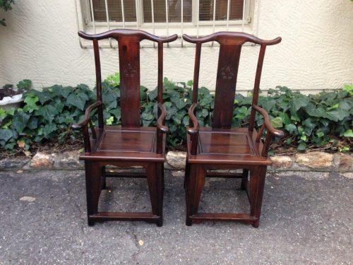 Pair Chinese yolk chairs
