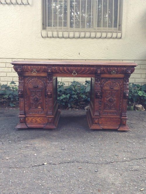 Portuguese Gothic Revival Oak Partner's Desk