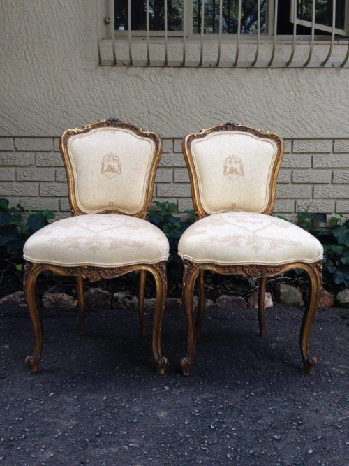 Pair Of French Gilt-Painted Upholstered Chairs