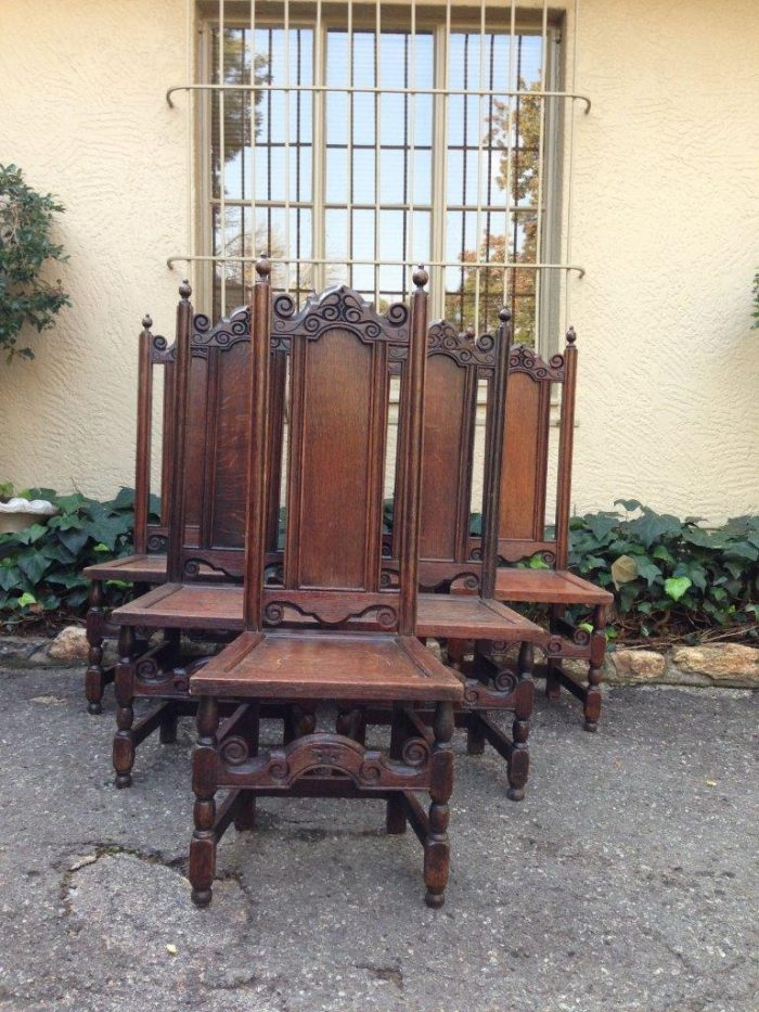Set of 6 Tudor style oak high back chairs