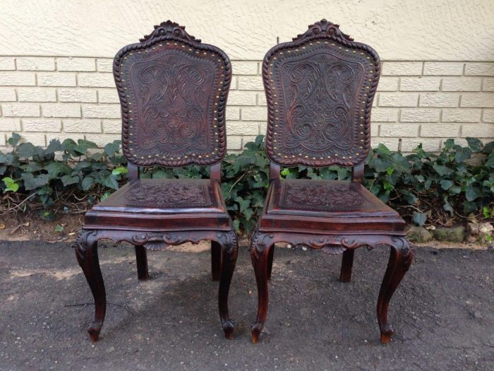Pair 19th Century Andalusian Louise XV style Walnut Chairs