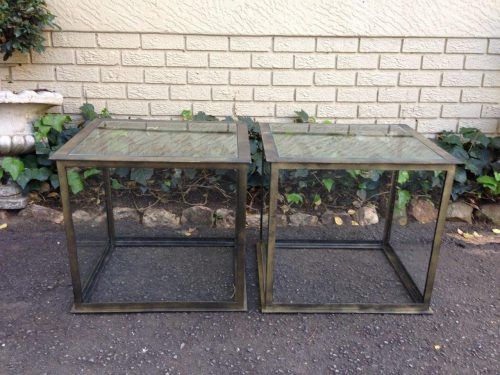 Pair of Cubed Glass Wrought Iron Tables