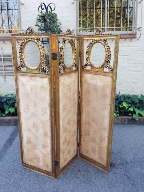 19th C French Carved Giltwood Three Panel Screen