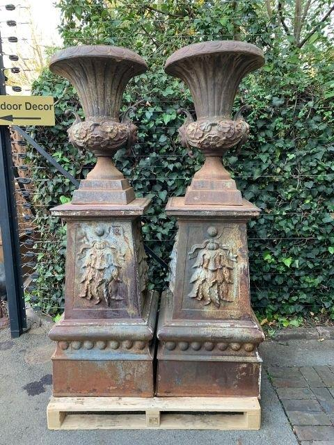 Rare Pair French Vintage Cast Iron Pots on Cast Iron Plinths - ND
