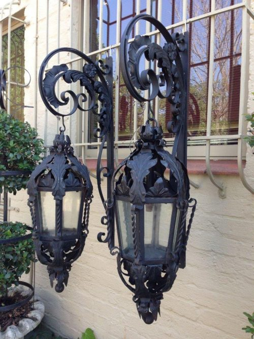 Exceptional Pair of Large Vintage Collectable and highly decorative Wrought Iron English Lanterns on Wall Brackets (Originally From an English Manor House)