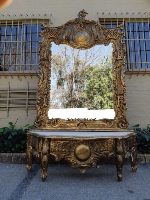 Hand Gilded Mirror and Console Table with Marble Top