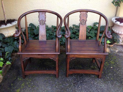 Pair of Chinese teak throne armchairs