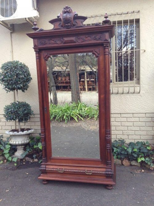 19th Century Teak Continental Single Door Armoire With  Drawer Below