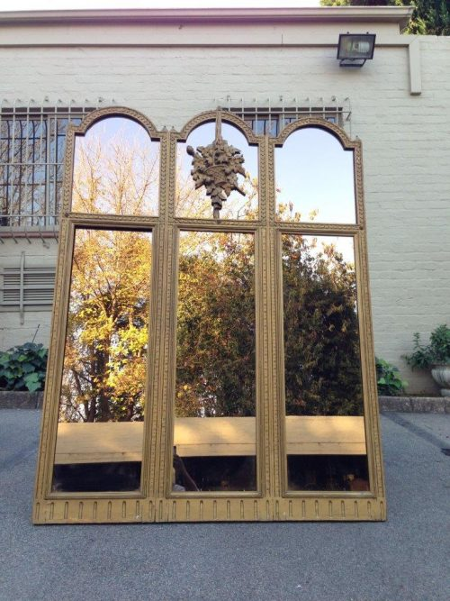 Gilt Painted Triptych Mirror