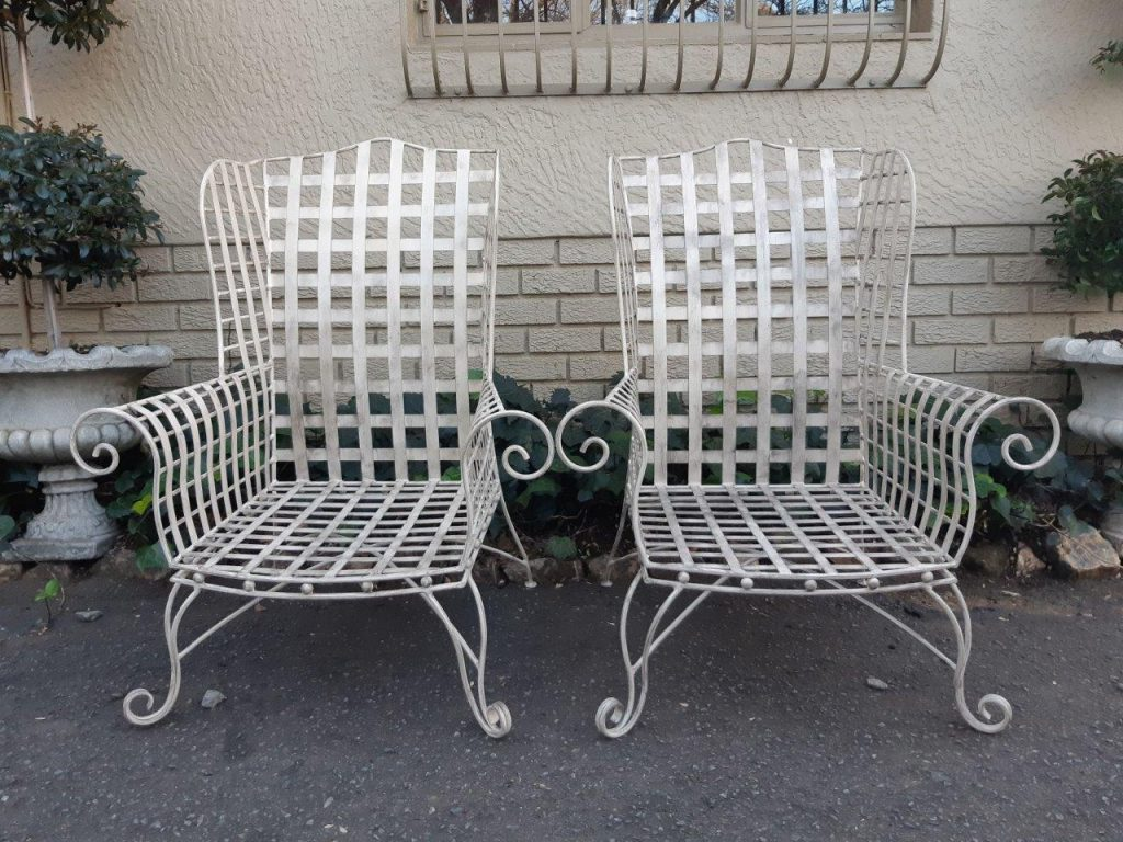 Pair Wrought Iron Wingback Chair The Crown Collection