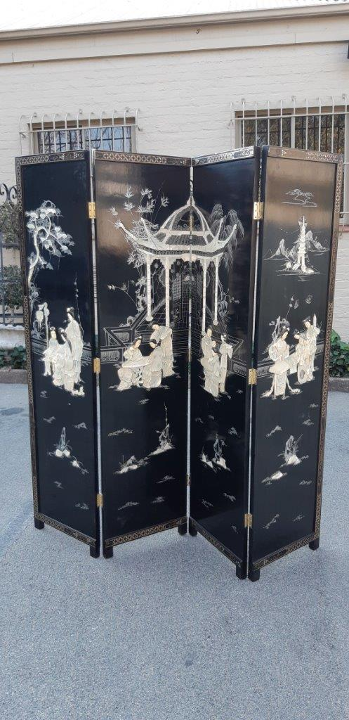Mother Of Pearl 4 Panel Chinese Screen. Hand Painted On The Back. Heavy Japanese Wood