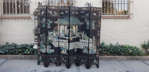 Rare Hand Painted 6 Panel Japanese Screen. Hand Painted On The Back.