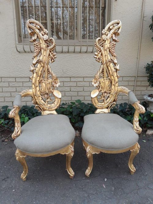A Pair of Baroque Style Carved and Hand Gilded High Back Throne Chairs (new linen upholstery)