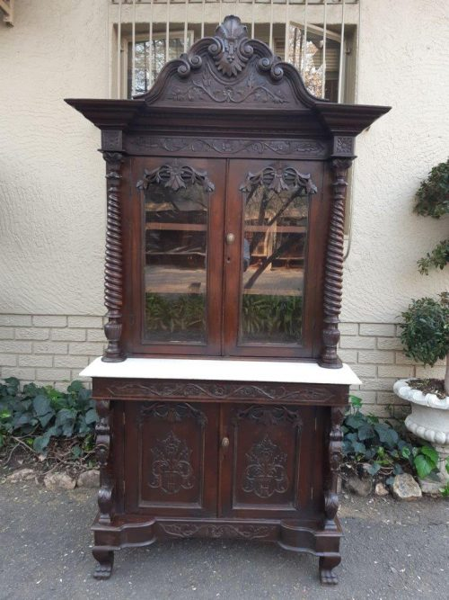 "Rare Antique Renaissance Hand Carved  Blackened"" Walnut Buffet/Server/Drinks Cabinet with Marble Top. Circa 1800's. The buffet has a hidden drawer in the middle."