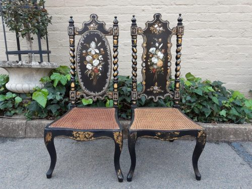 Pair of Mother of Pearl Inlaid Ebonised Chairs with Rattan Seats
