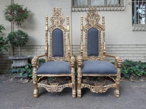 Pair Hand-Gilded King Throne Chairs – Charcoal (brand new imported English linen)