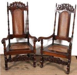 A Pair of Cape Stinkwood Occasional High Back Arm Chairs in Rattan in the Victorian Style