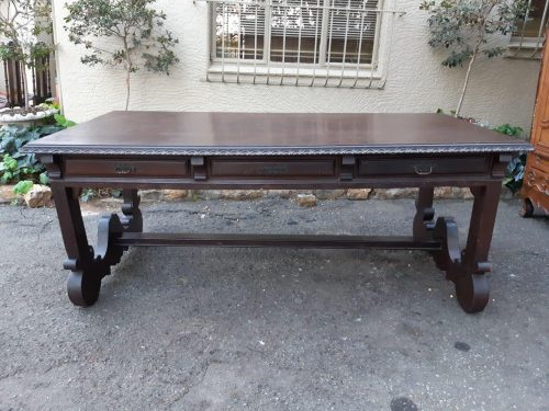 Spanish Style Partridge Wood Dining/Refectory/Library Table With Cross Stretcher Base