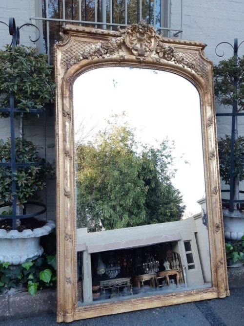 Antique and of Large Proportion Giltwood Mirror