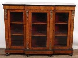 Victorian Gilt Metal Mounted Walnut And Inlaid Break-Front Bookcase