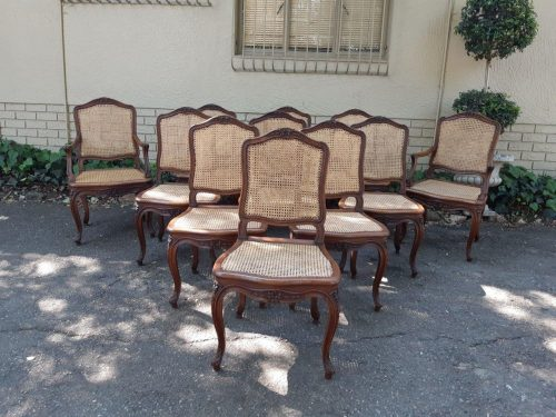 Set Of Antique French 11 Oak Dining Chairs (2 X Carvers And 9 Dining Chairs) With Rattan Seats & Backs (2 Carvers)