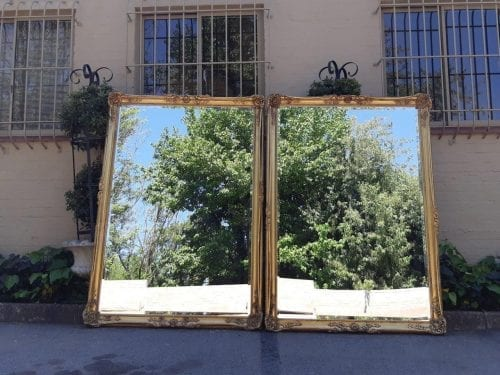 Pair Of Oversized Vintage Hand-Gilded And Bevelled Mirrors (Ex Jhb Country Club)