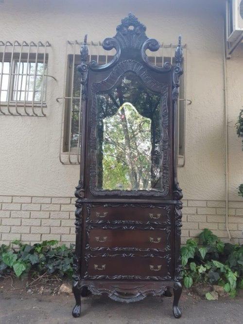 Spanish Walnut Ornately Carved Display Cabinet