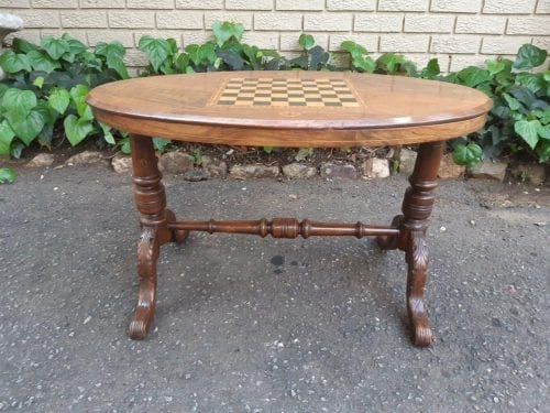 19th Century Oval inlaid chess table