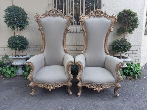 Pair Of Oversized And High Back Gilded Statement Arm Chairs
