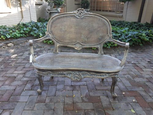 A Gilded French Style Rattan Setee