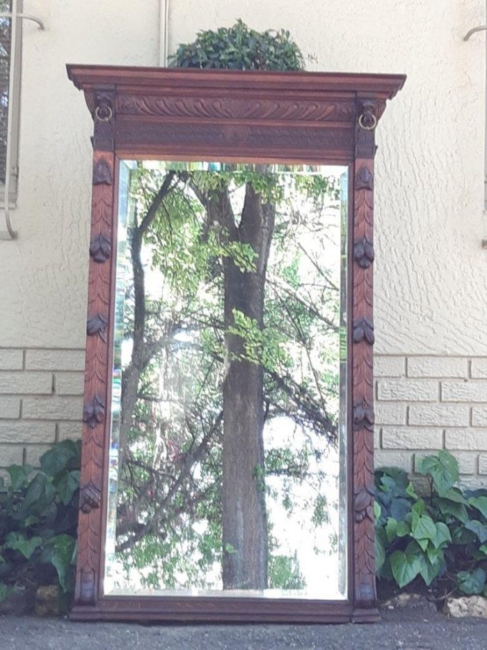 A Large German Rectangular Bevelled Mirror